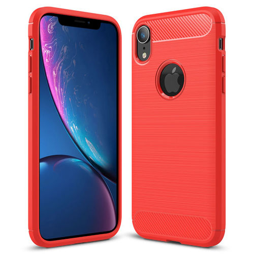 Flexi Slim Carbon Fibre Case for Apple iPhone Xr - Brushed Red